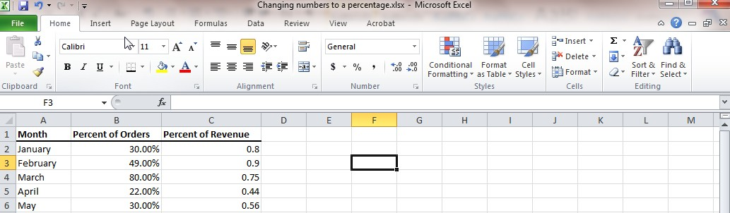 Percentage in Excel Image 1
