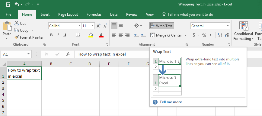 Wrapping Text In Excel