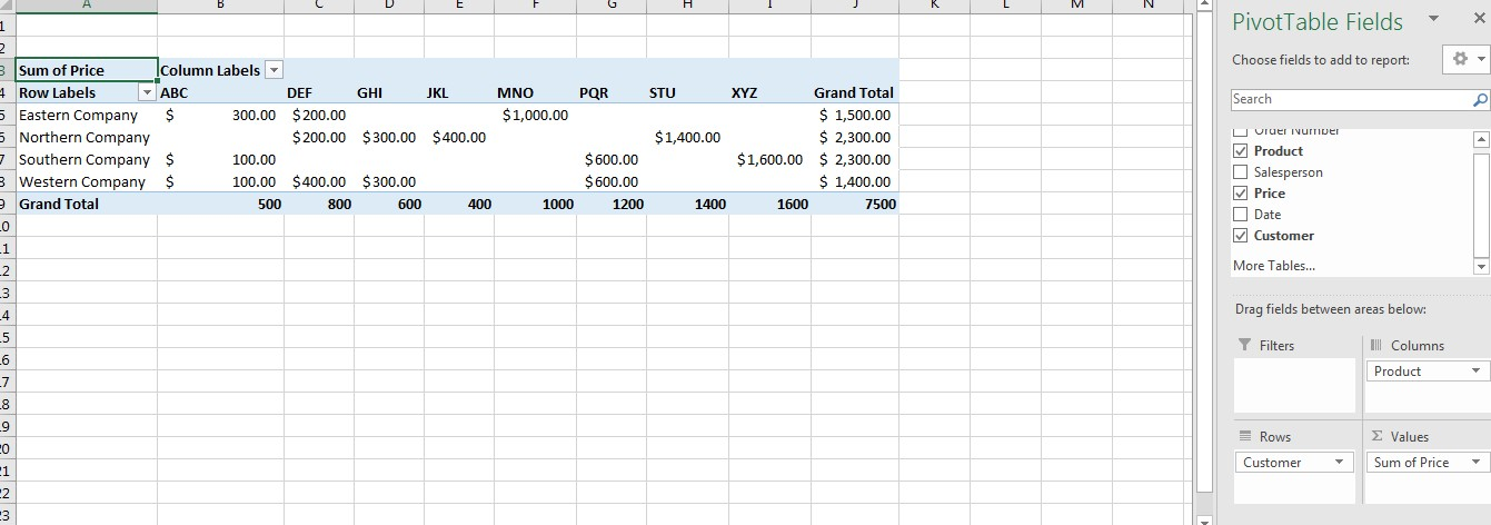 Refreshing Pivot Table Image 2